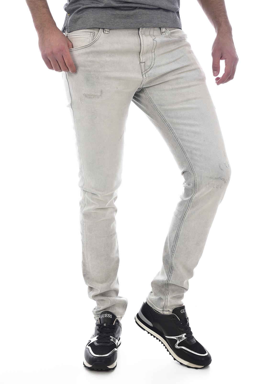 haut guess, guess pantalon super skinny en coton gris homme