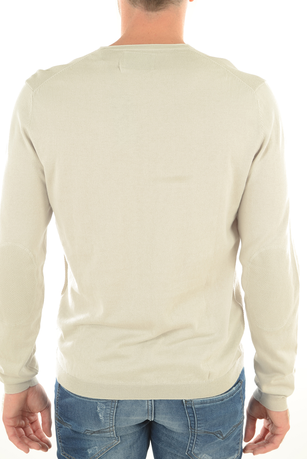 GUESS JEANS PULL UNI COTON FINES MAILLES M61R19 BEIGE COL V HOMME