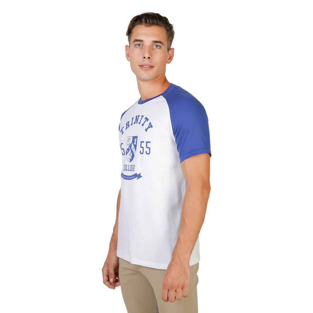 T-SHIRTS HOMME OXFORD UNIVERSITY TRINITY RAGLAN MM BLEU