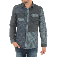 KAPORAL MAKI CHEMISE PATCH WORK COUPE SLIM BLEU