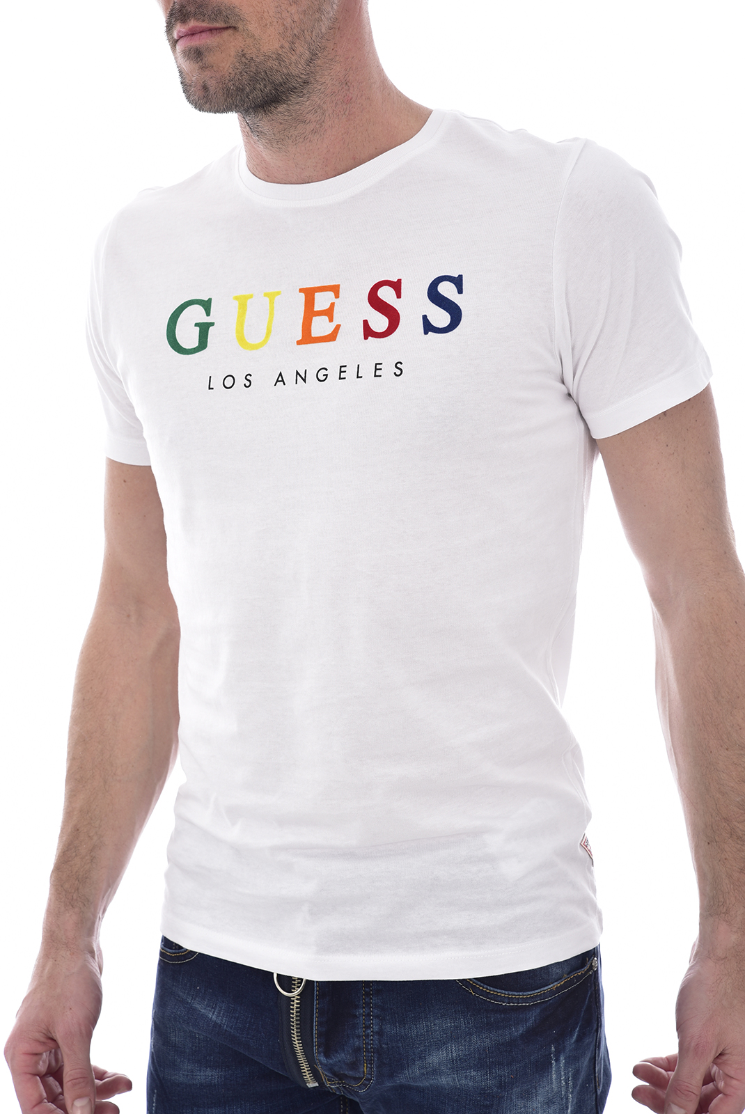GUESS JEANS TEE-SHIRT BLANC M92I39 COLORFUL HOMME