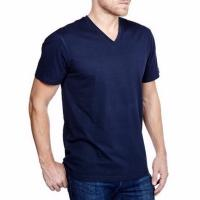 TEE-SHIRT COL V COTON MARINE POUR HOMME