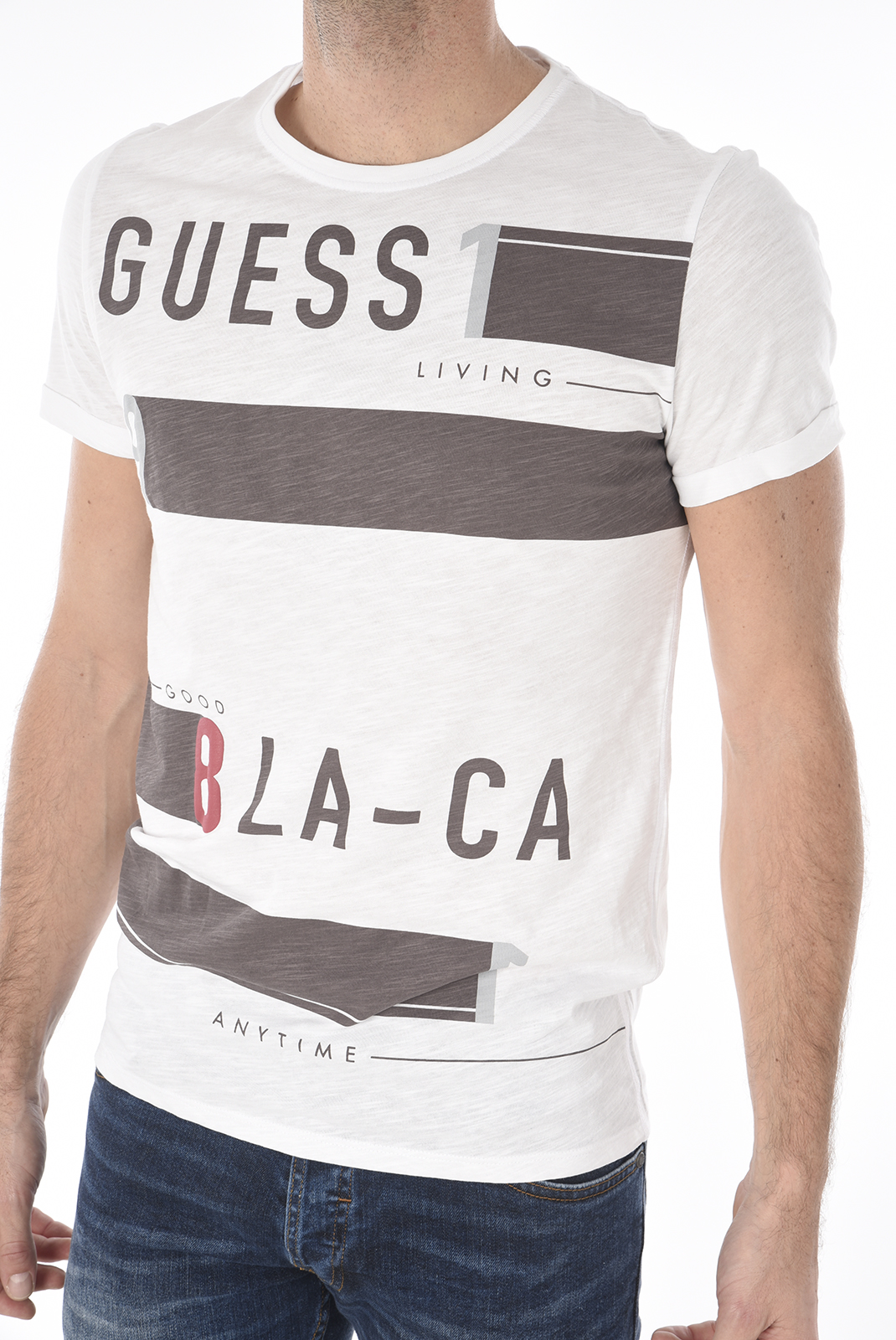 finest selection classic fit san francisco GUESS JEANS TEE-SHIRT COTON PRINTE M73I38