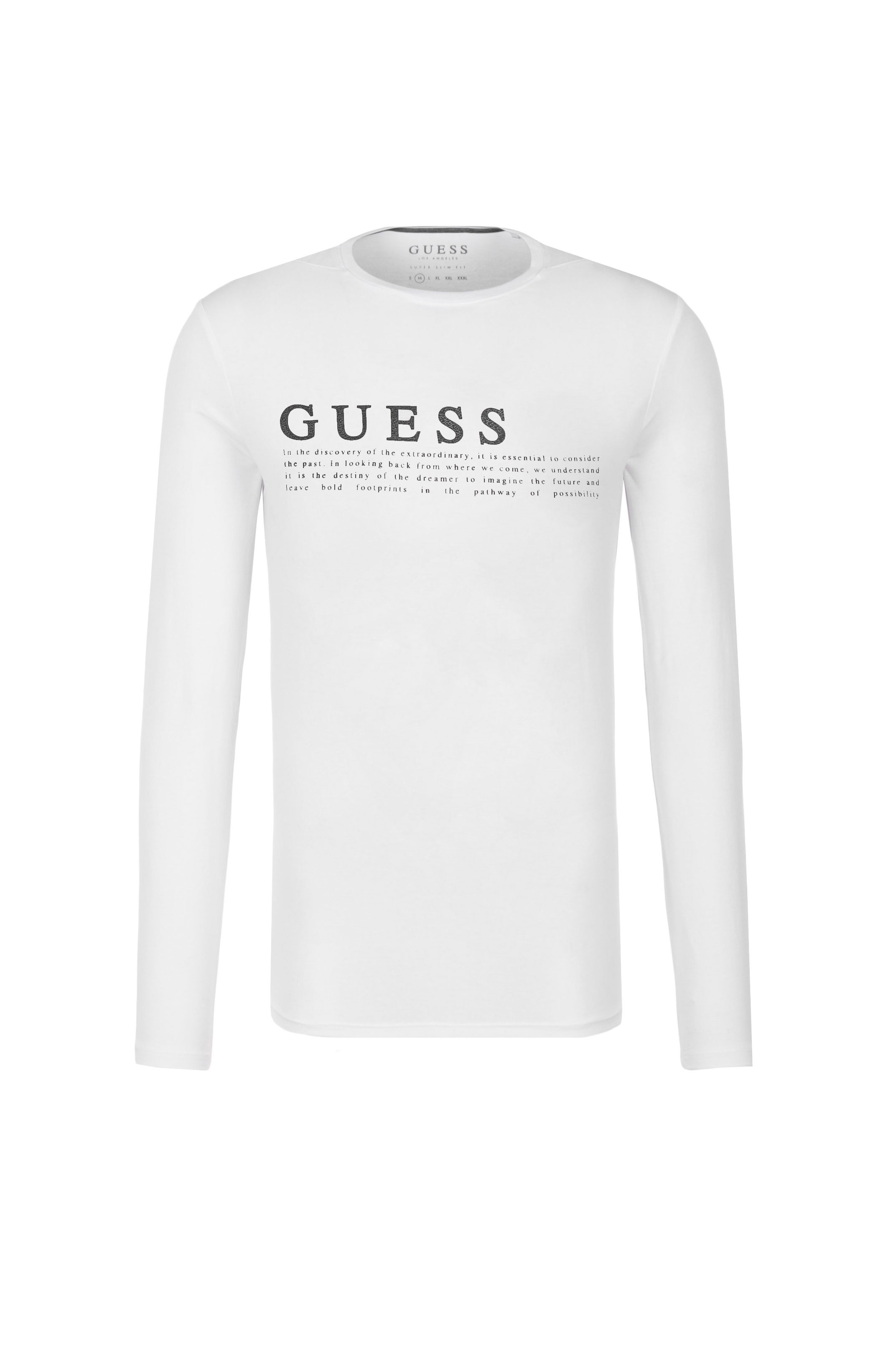 GUESS TEE-SHIRT MANCHES LONGUES M74I42 K6920 BLANC HOMME