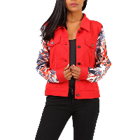 FOR HER PARIS VESTE UNI A MANCHES IMPRIMEES ROUGE FEMME