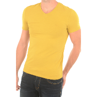 GUESS JEANS TEE-SHIRT UNI STRETCH M73I55 JAUNE POUR HOMME