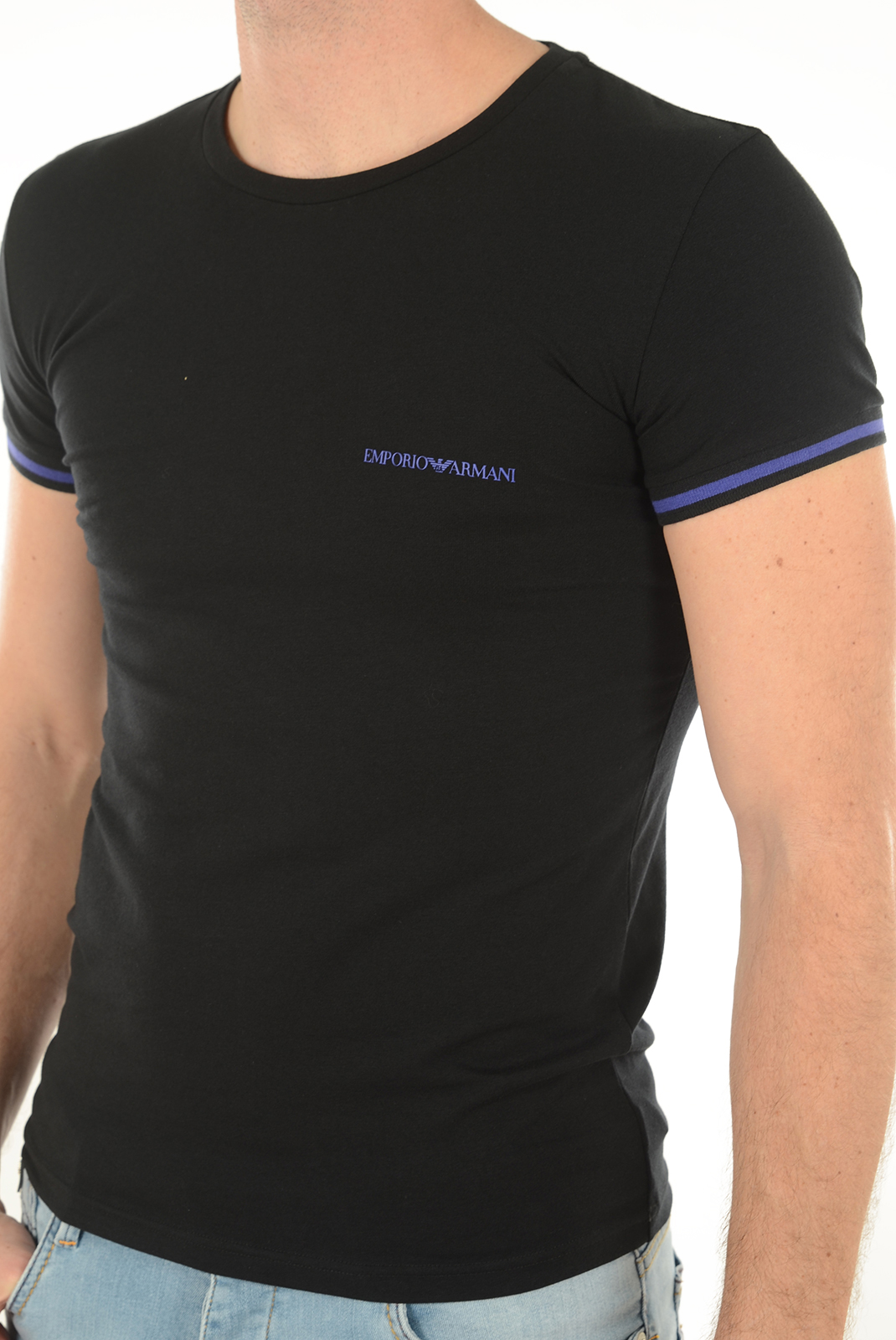 EMPORIO ARMANI TEE-SHIRT MANCHES COURTES BICOLORE STRETCH 111035 6A525