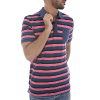 JACK & JONES POLO HOMME COTON PIQUE RAYE STRIPE ROSE