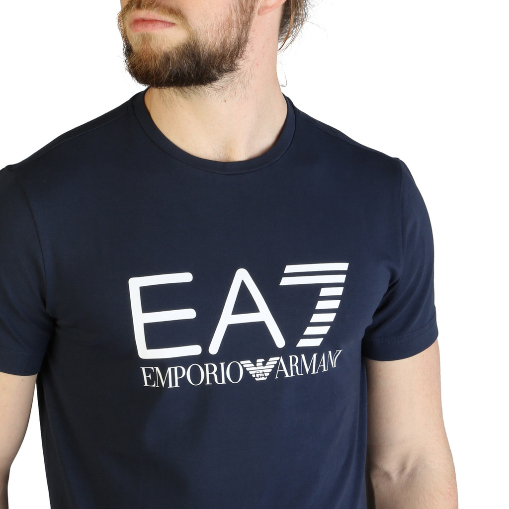 Emporio Armani Tee-shirt Bleu Regular Fit À Manches Courtes 7vpt21