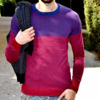 PULL ROUGE COL ROND HOMME
