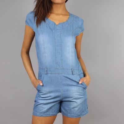 COMBISHORT MANCHES COURTES JEANS DELAVES