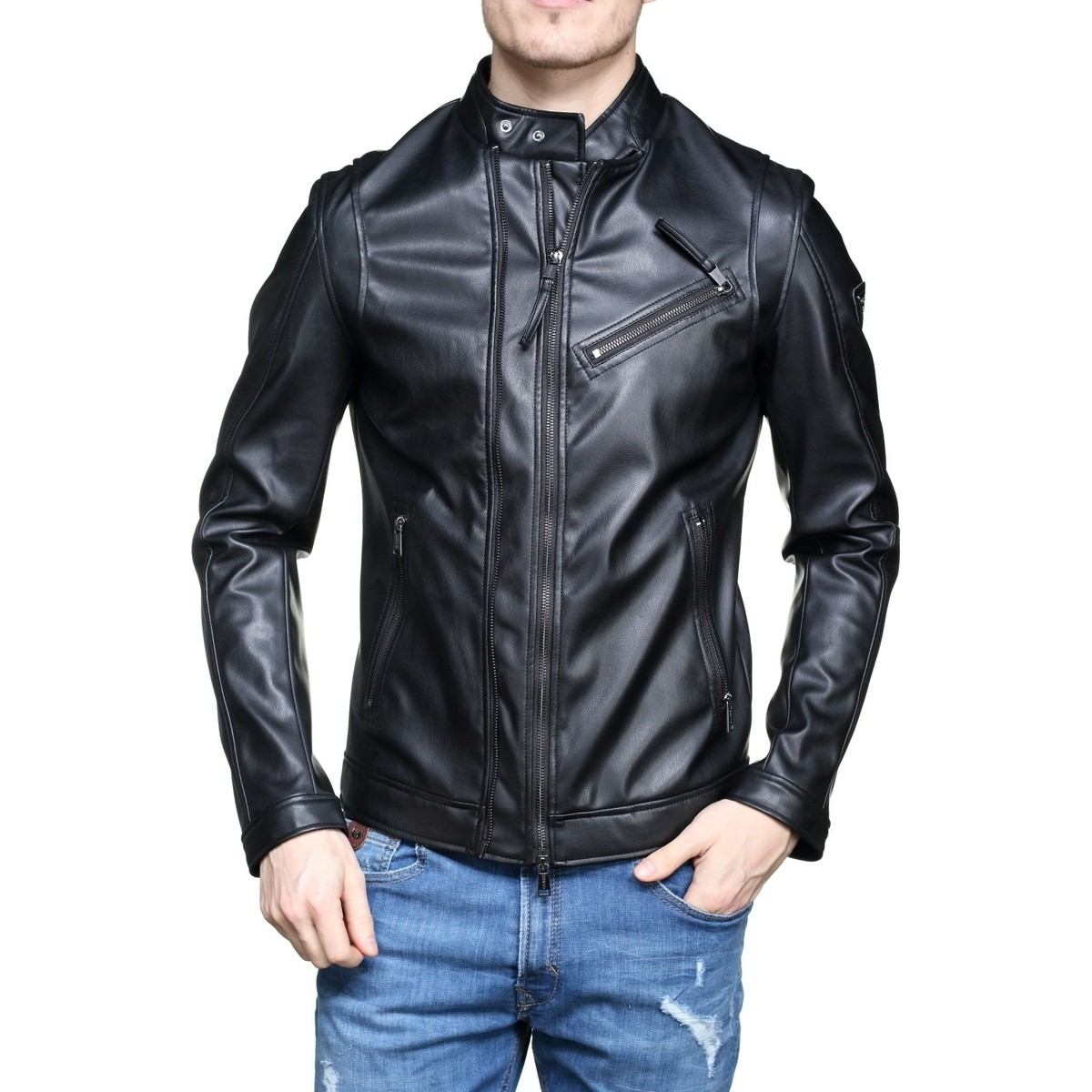 Jeans Jeans Style Blouson Homme M82l10 Guess Motard Noir Noir Noir dqtnwfnUF