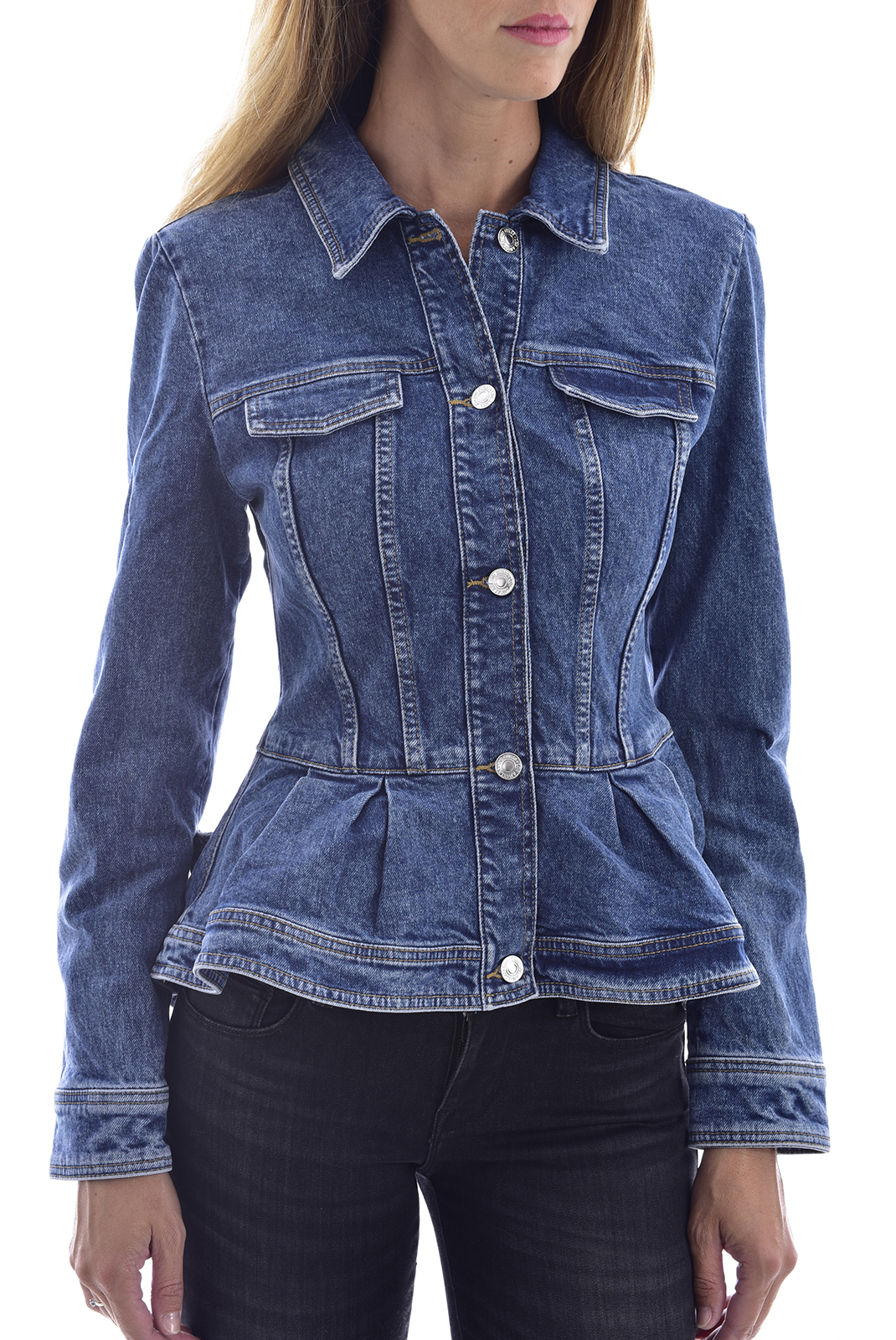 GUESS W93XJ6D3JS0 - VESTE DENIM AVEC BASQUE FEMME