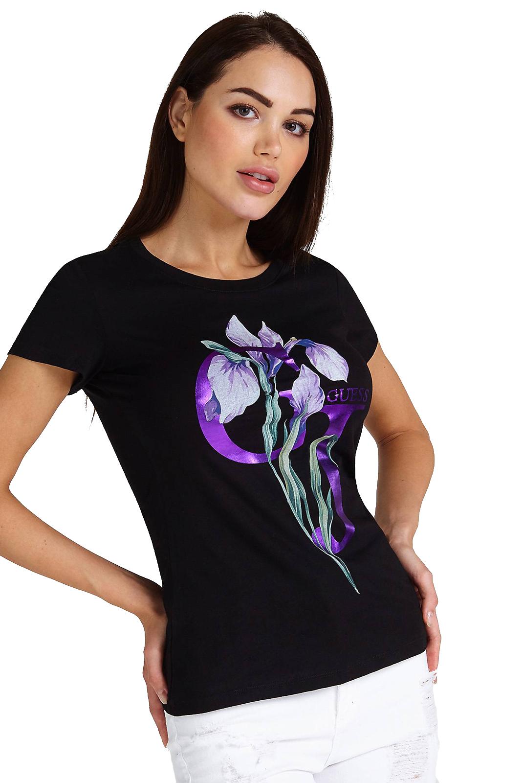 5fe705fd Tee Shirt Iris Guess Jeans Imprime Noir EH29DYWI