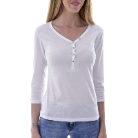 GUESS W92P78K8HA0 - TEE-SHIRT BLANC MANCHES LONGUES AVEC BOUTONS FEMME