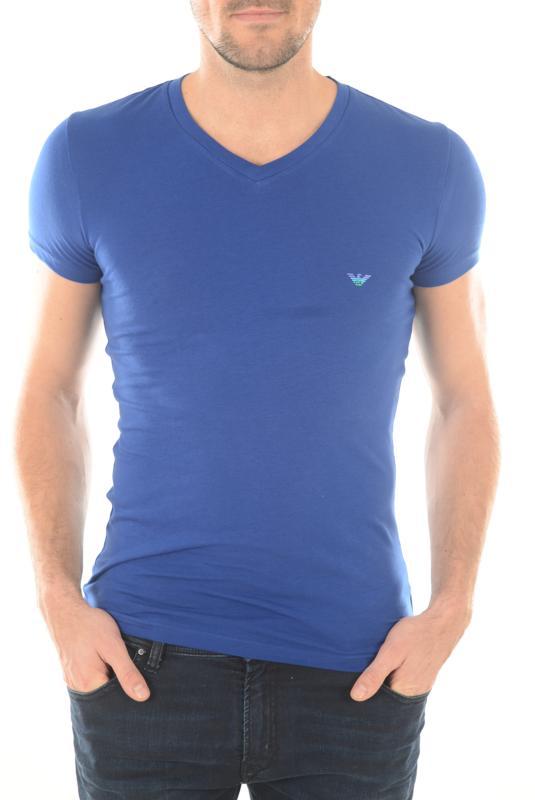 110810 Bleu Courtes Tee Emporio Col Shirt Manches Armani V pn8BWwqz0x