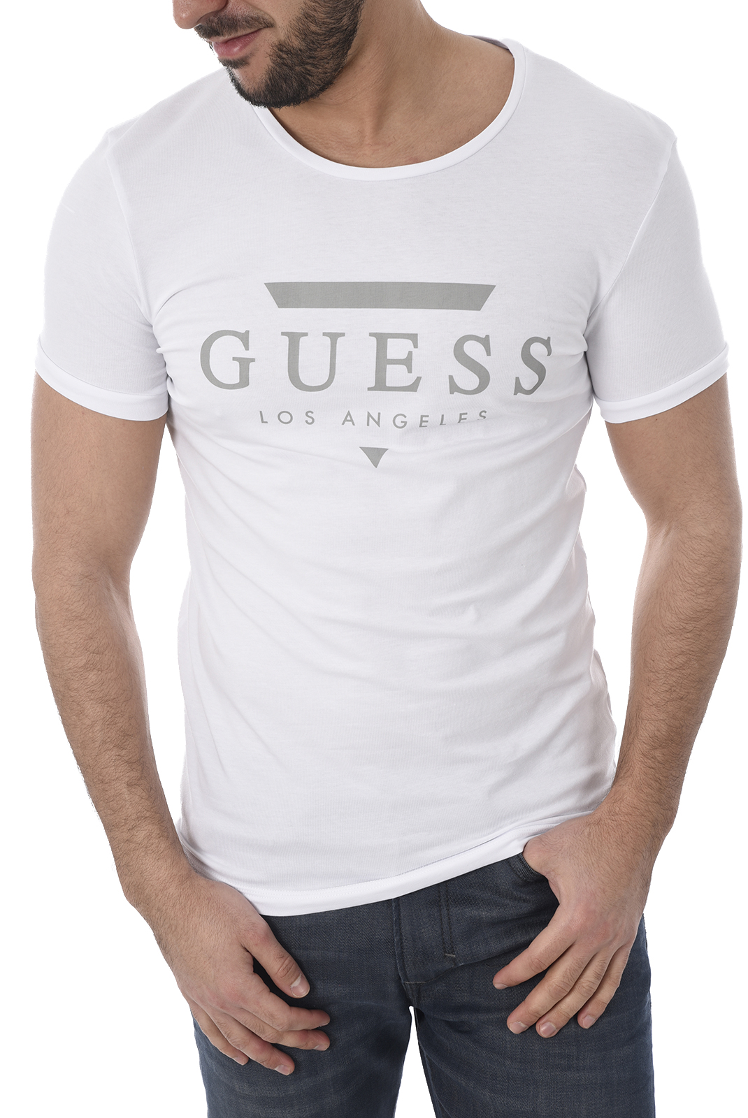 GUESS T-SHIRT HOMME U82M00 JR004 BLANC