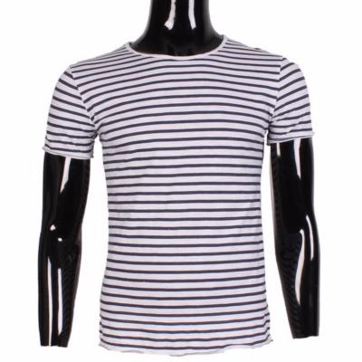 T-SHIRT A RAYURES MARIN HOMME MANCHE COURTE