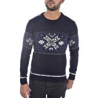 GOLDENIM PARIS 1248 - PULL BLEU MOTIFS FLOCON HOMME