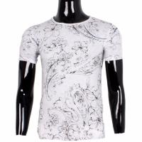 T-SHIRT FLOWERS COL ROND BLANC HOMME