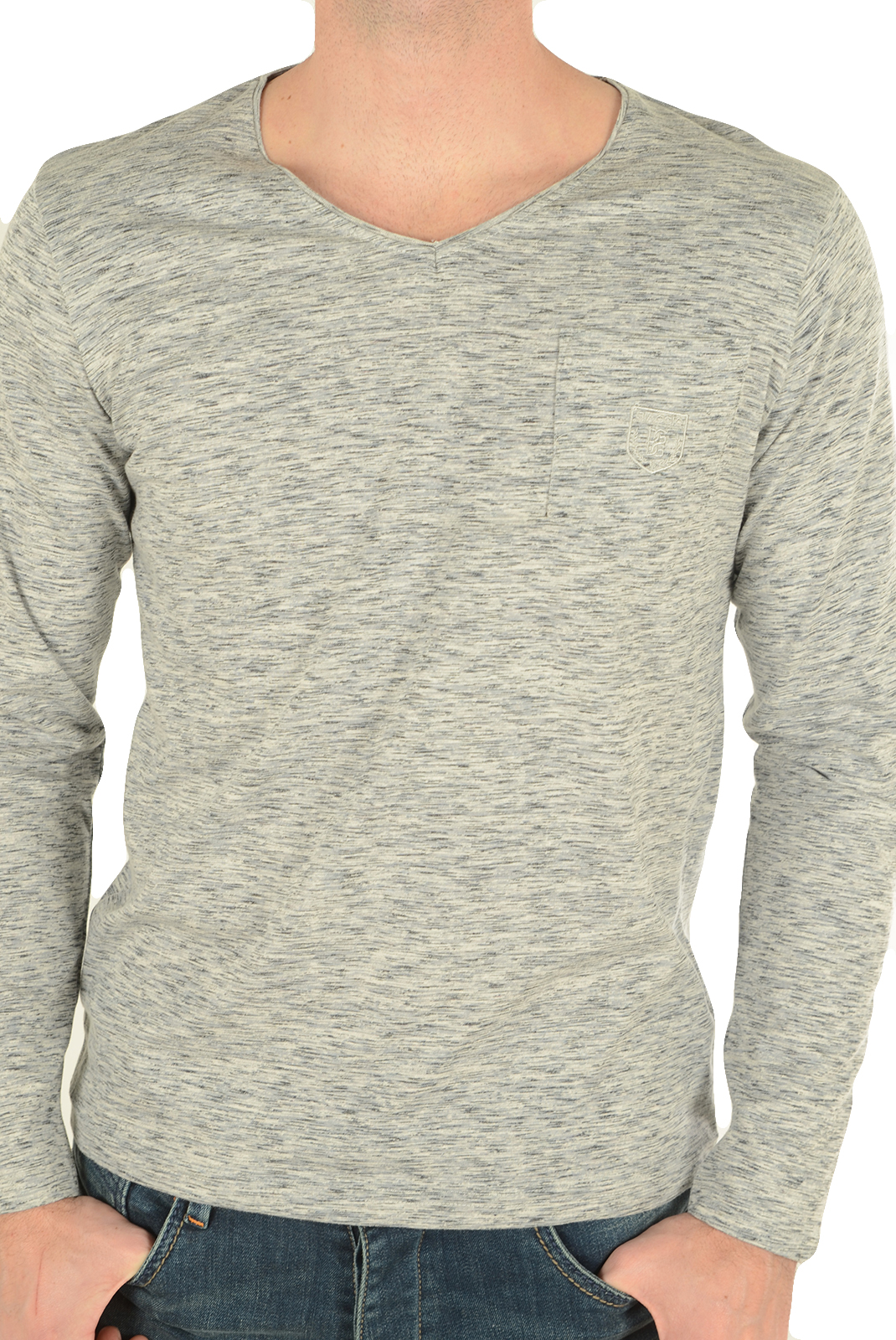 BIAGGIO JEANS TEE-SHIRT CHINE LUBOKIL GRIS HOMME