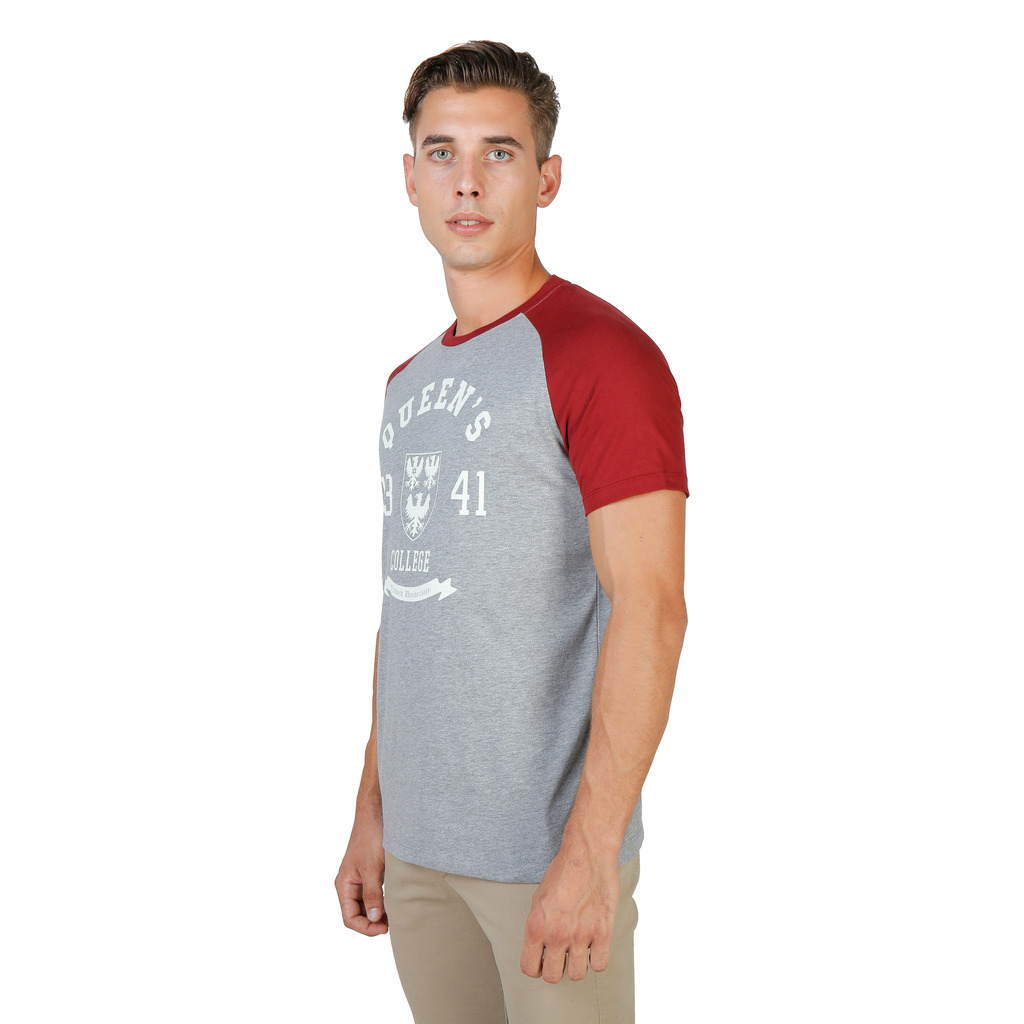 T-SHIRTS HOMME OXFORD UNIVERSITY QUEENS RAGLAN MM GRIS ROUGE