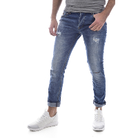 LEO GUTTI JEANS TAILLE BASSE SLIM BLEU HOMME